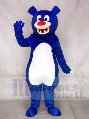 Blue Bear with White Belly Mascot Costumes Animal
