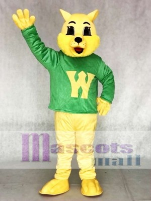 Cute Winner Wildcat Cat in Green Vest Mascot Costume Animal