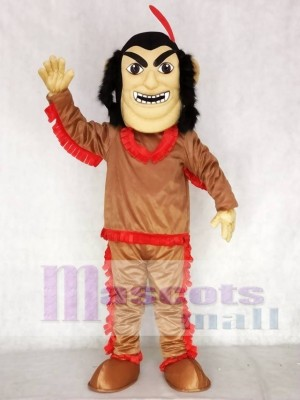 Brown Shirt Native American Indian Mascot Costume with Red Feather