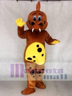 Golden Brown Dinosaur Mascot Adult Costumes