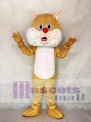 Cute Tan Wirey Wildcat Mascot Costume Animal