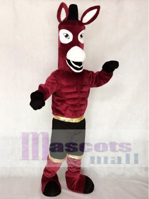 New Maroon Jack Mule Mascot Character Costume Fancy Dress Outfit