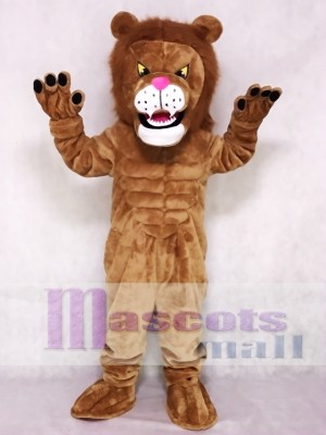 Brown Power Cat Lion Mascot Costume Animal