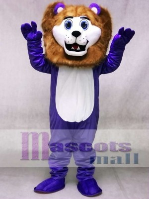 Custom Color Purple Cute Andy Lion Mascot Costumes Animal