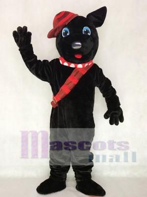 Black Scotty Dog Mascot Costume with Hat Animal