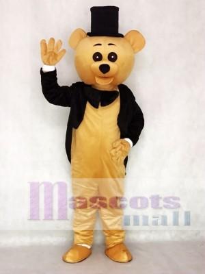 Ritual Bear Mascot Costume Brown Teddy Bear Gentleman Suit Animal