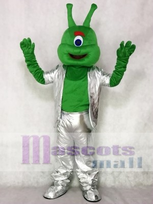 Green Alien in Silver Suit Mascot Funny Costume