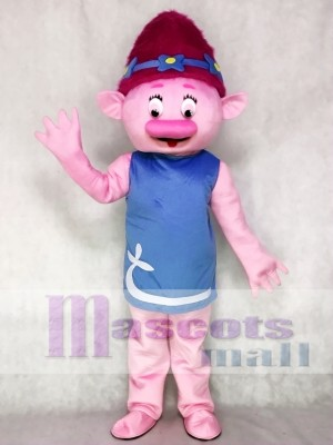 Trolls Cartoon Poppy Mascot Costume Girl with Pink Hair Mascot Costume