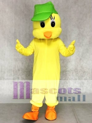 Little Yellow Tweety Bird Mascot Costumes with a Hat Animal