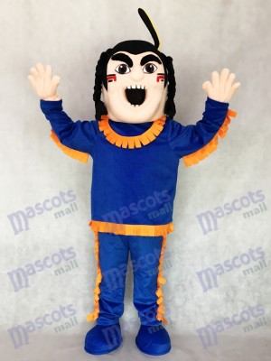 Brave Indian in Blue with Orange Strim Mascot Costume People