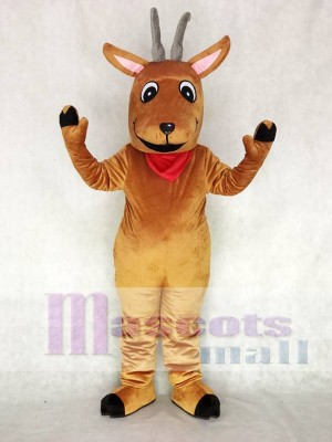 Cute Andy Antelope with a Red Neckerchief Mascot Costume Animal