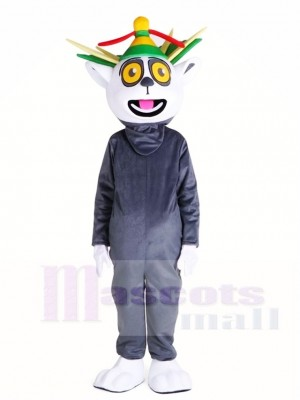Cute Madagascar King Julian Lemuroid Lemuridae Monkey Mascot Costumes Animal