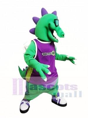 Green Dragon with Sunglasses Mascot Costume Dragon with Vest Mascot Costumes Animal