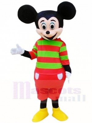 Mickey Mouse in Red and Green Stripes Shirt Mascot Costumes Cartoon