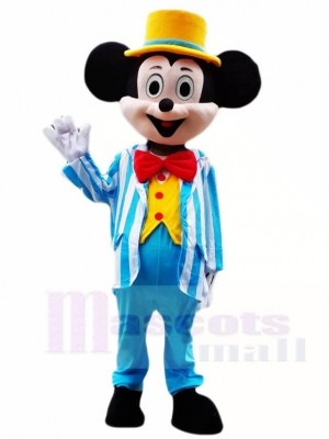 Mickey Mouse in Blue Tuxedo and Yellow Hat Mascot Costumes Cartoon