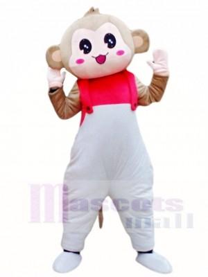 Monkey in White Overalls Mascot Costumes Animal