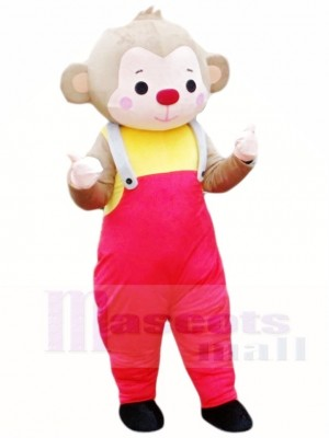 Monkey in Red Overalls Mascot Costumes Animal