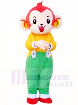 Monkey in Green Overalls Mascot Costumes Animal