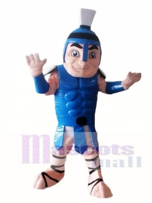 Blue Titan Spartan Trojan Knight Mascot Costume People