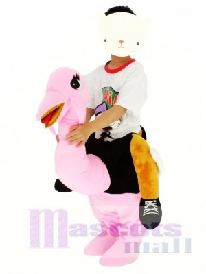 Children/ Kids Piggyback Carry Me Ride on Pink Ostrich Mascot Costume