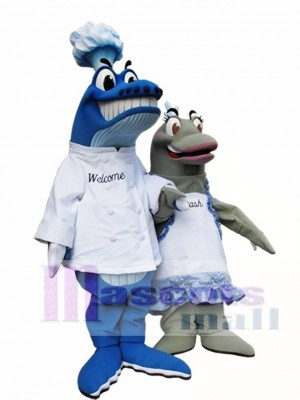 Blue Whale Chef on left Mascot Costumes