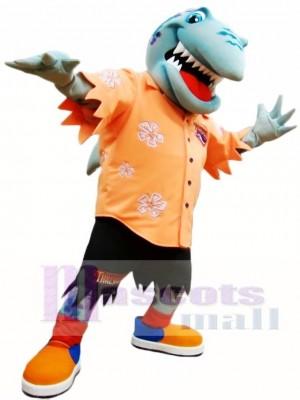 Cute Orange Shirt Shark Mascot Costume Ocean