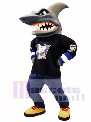 Cute Black Shirt Shark Mascot Costume Ocean