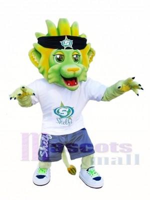 Cute Light Green Lion Mascot Costumes Animal