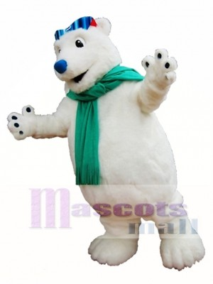 Polar Bear Mascot Costume White Bear with Scarf Mascot Costumes