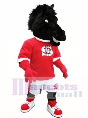 Cute Black Horse Mascot Costume Black Mustang Mascot Costumes Animal