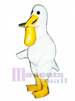 Cute Pelican with Fish Mascot Costume Bird