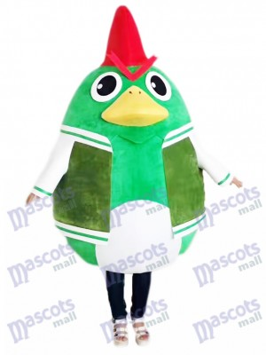 Rooster Cock Chicken in Green Suit Mascot Costume Animal