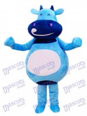 Blue Cattle Calf Mascot Costume Cartoon