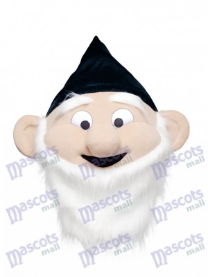 Dwarf Mascot HEAD ONLY in Black Hat Cartoon Anime