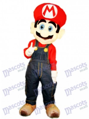 Famous Plumber Red Mario Mascot Costume Cartoon Anime