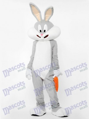 Gray Bunny With Carrot Mascot Costume Animal