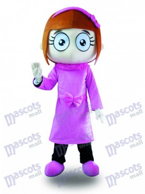 Purple Dress Big Eyes Girl Mascot Costume Cartoon