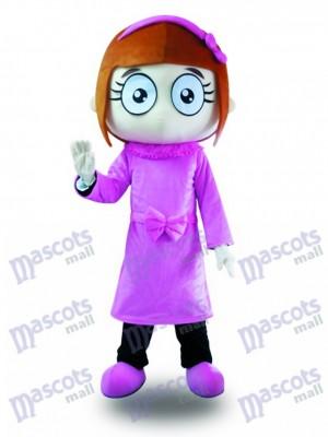 Purple Dress Big Eyes Girl Mascot Costume Cartoon