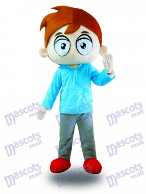 Blue Shirt Big Eyes Boy Mascot Costume Cartoon
