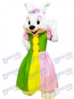 Easter Bunny in Colorful Dress Mascot Costume Cartoon