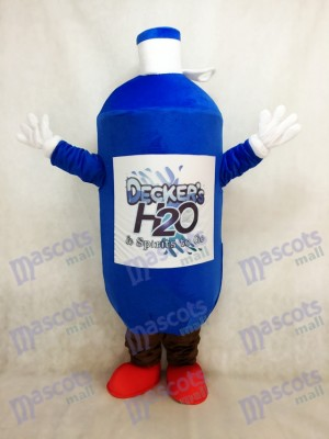 Dark Blue Water Bottle Mascot Costume with the Red Shoes