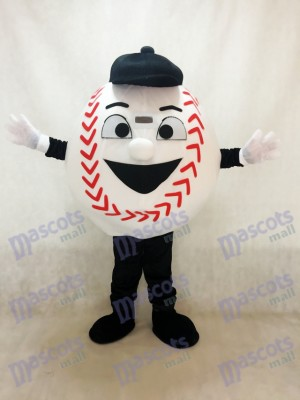 Adult White Baseball with a Black Hat Mascot Costume