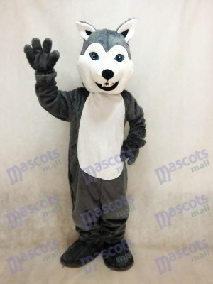 White and Grey Husky Dog Mascot Costume Animal