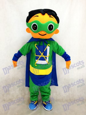 Super Why Super Hero Mascot with Green Cloak Costume