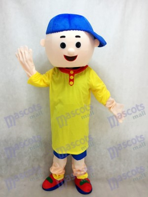 Caillou Mascot Costume Boy with Blue Hat Cartoon