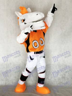 New Mustang Horse Broncos with Orange Mane Mascot Costume Animal