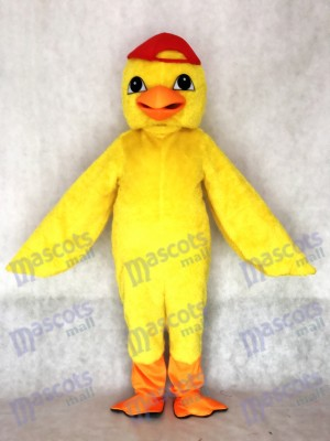 Adult Cute Yellow Chick Mascot Costume with Red Hat Animal