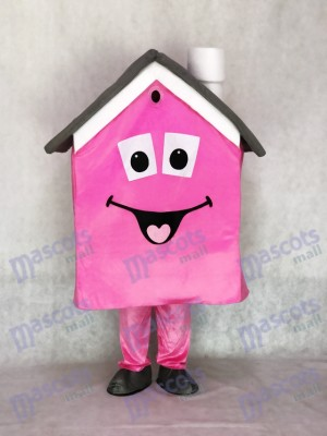 Pink Housing House Real Estate Agent Mascot Costume Promotion
