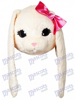 White Bunny Easter Rabbit Hare with Pink Bow Mascot HEAD ONLY Animal