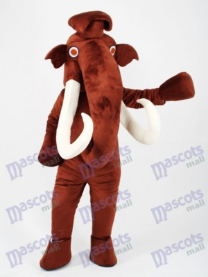 Brown Mammoth Elephant with Long Tusk Mascot Costume Animal